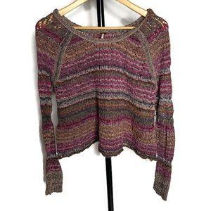 Free People Boho Open Knit Pink Long Sleeve Shirt